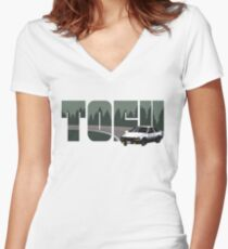 TOFU delivery - green Women's Fitted V-Neck T-Shirt