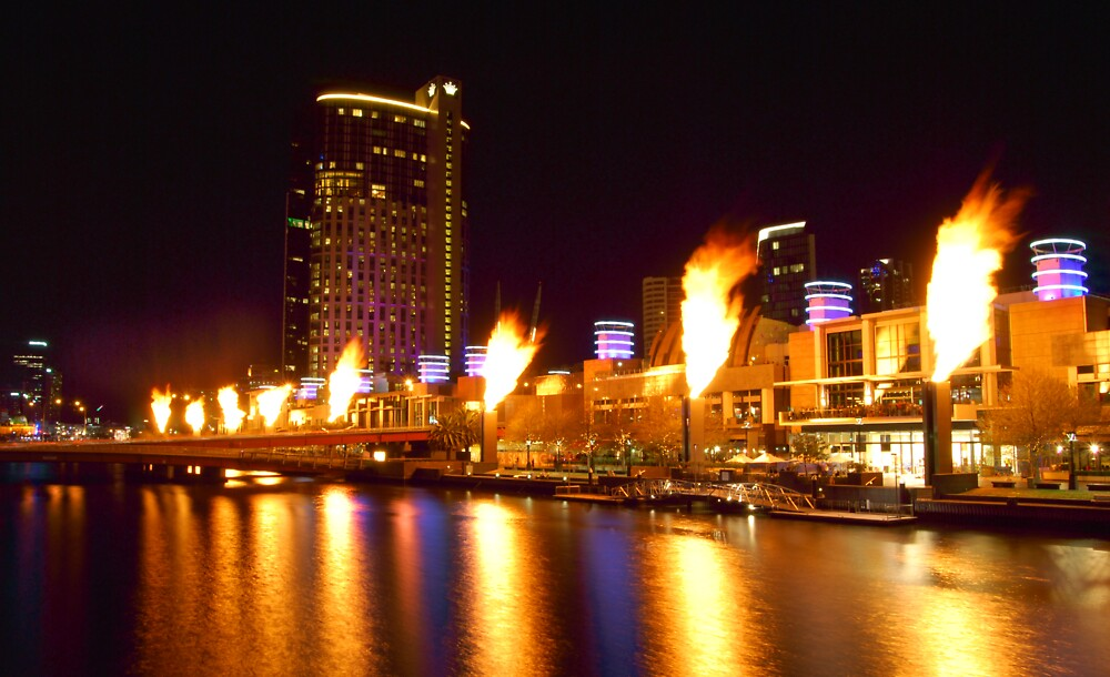 Melbourne South Bank Flames by Grant McCall