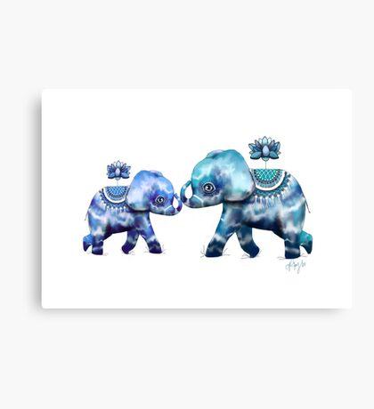 Blue Lotus Tie Dye Elephants Canvas Print