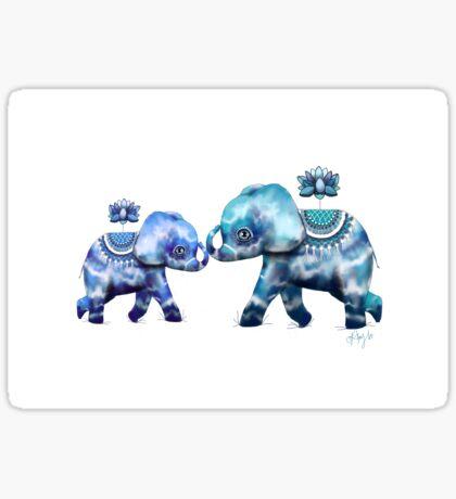 Blue Lotus Tie Dye Elephants Sticker