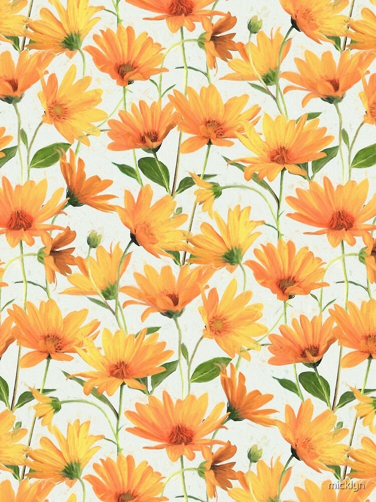 Painted Radiant Orange Daisies on off-white by micklyn