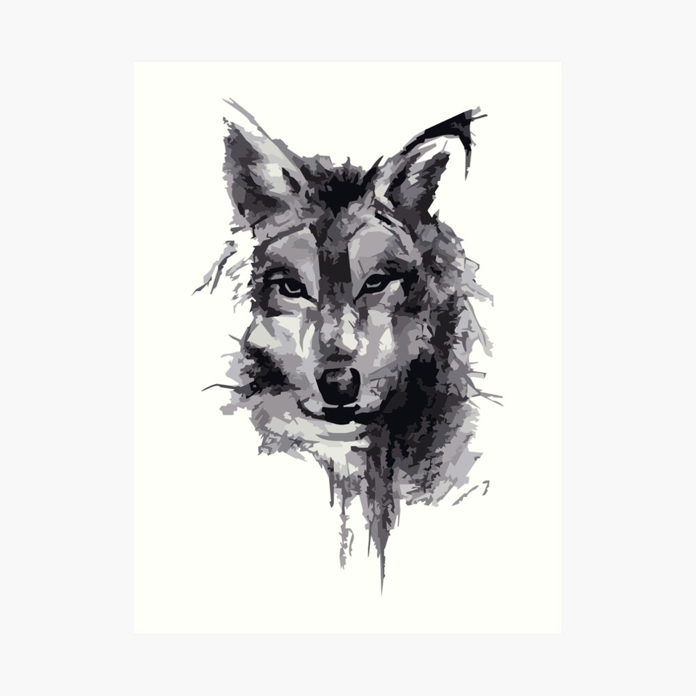 Wolf pencil drawing art print