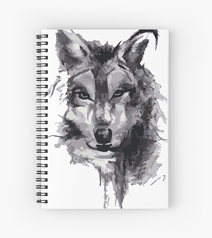 Cuadernos De Espiral Dibujo A Lápiz De Lobo De Jack Wolf Redbubble