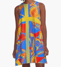 Abstract Primary Colors A-Line Dress