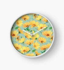 Painted Golden Yellow Daisies on soft sage green Clock