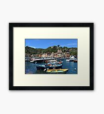 Beautiful sea coast with boats and colorful houses in Portofino, Italy Framed Print