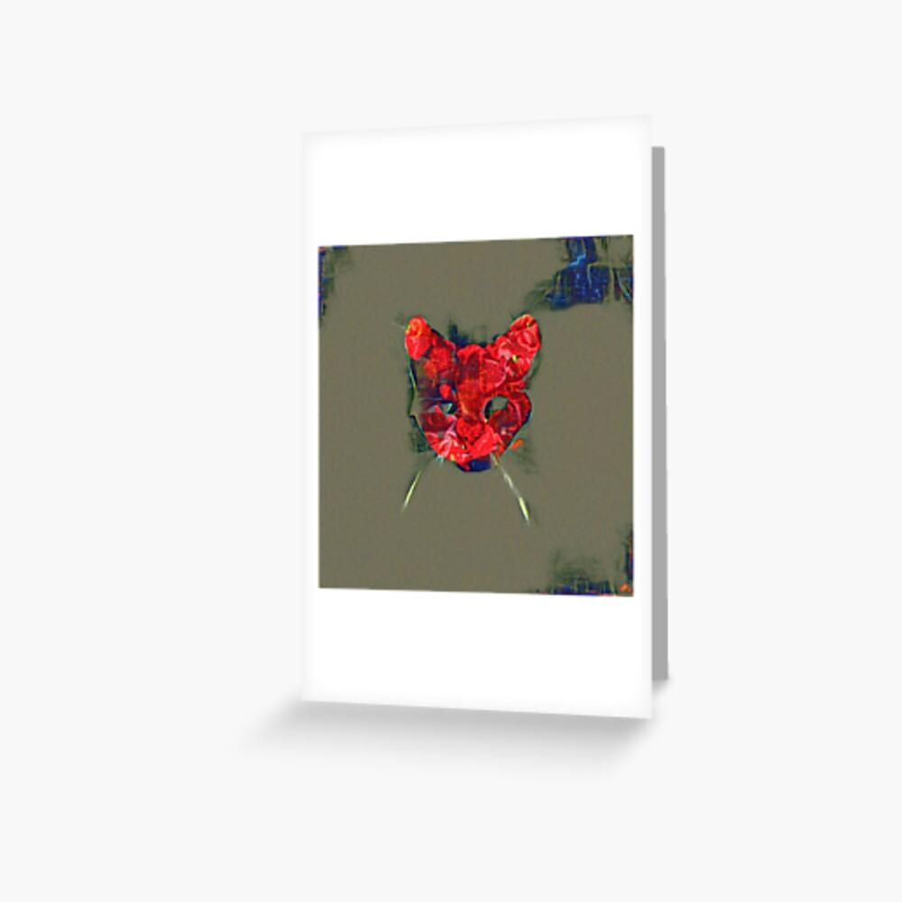 Ninja cat hiding in poppy #Art Greeting Card