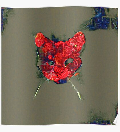 Ninja cat hiding in poppy #Art Poster