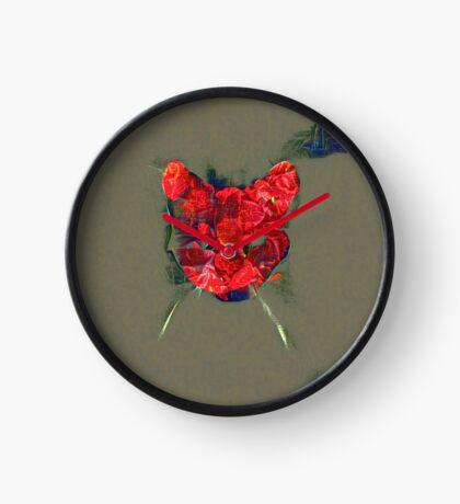 Ninja cat hiding in poppy #Art Clock
