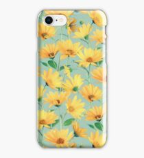 Painted Golden Yellow Daisies on soft sage green iPhone Case/Skin