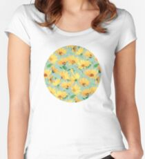 Painted Golden Yellow Daisies on soft sage green Women's Fitted Scoop T-Shirt