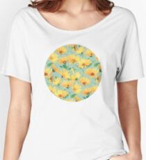 Painted Golden Yellow Daisies on soft sage green Women's Relaxed Fit T-Shirt