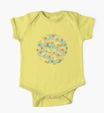 Painted Golden Yellow Daisies on soft sage green One Piece - Short Sleeve