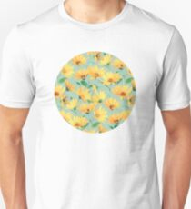 Painted Golden Yellow Daisies on soft sage green T-Shirt