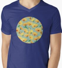 Painted Golden Yellow Daisies on soft sage green Mens V-Neck T-Shirt