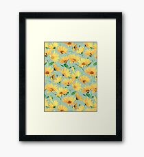 Painted Golden Yellow Daisies on soft sage green Framed Print