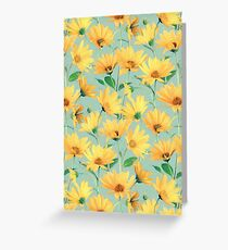 Painted Golden Yellow Daisies on soft sage green Greeting Card