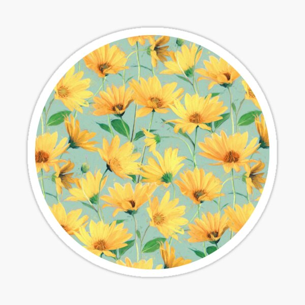 Painted Golden Yellow Daisies on soft sage green Sticker