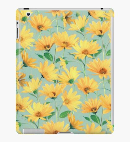 Painted Golden Yellow Daisies on soft sage green iPad Case/Skin