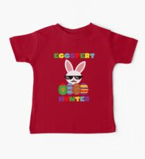 Funny Pink Hopping Easter Bunny for Egg Hunters Baby Tee