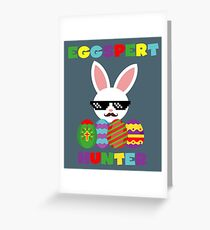Funny Pink Hopping Easter Bunny for Egg Hunters Greeting Card