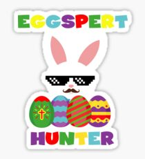 Funny Pink Hopping Easter Bunny for Egg Hunters Sticker