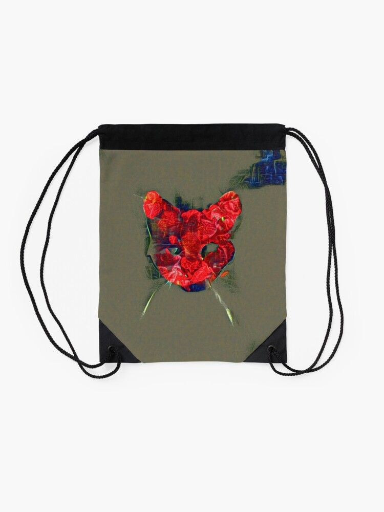 Alternate view of Ninja cat hiding in poppy #Art Drawstring Bag