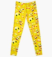 Yellow Emoji Smilie Faces Graphic Cartoon Icon Character Pattern Leggings