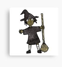 cartoon witch with broomstick Canvas Print