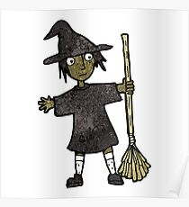 cartoon witch with broomstick Poster