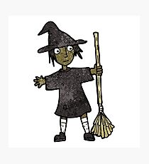 cartoon witch with broomstick Photographic Print