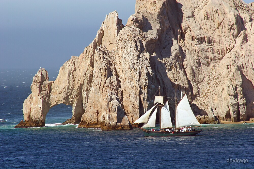 Cabo Rocks and Sailboat by dbvirago