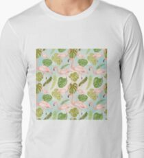 Hand drawn pink flamingo and monstera leaves. Seamless pattern Long Sleeve T-Shirt
