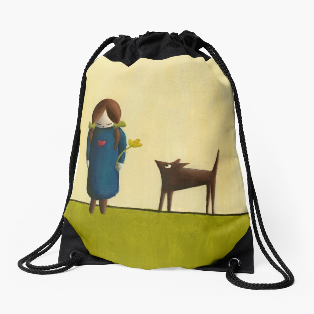 Between the Line – Girl with Dog Friend Drawstring Bag