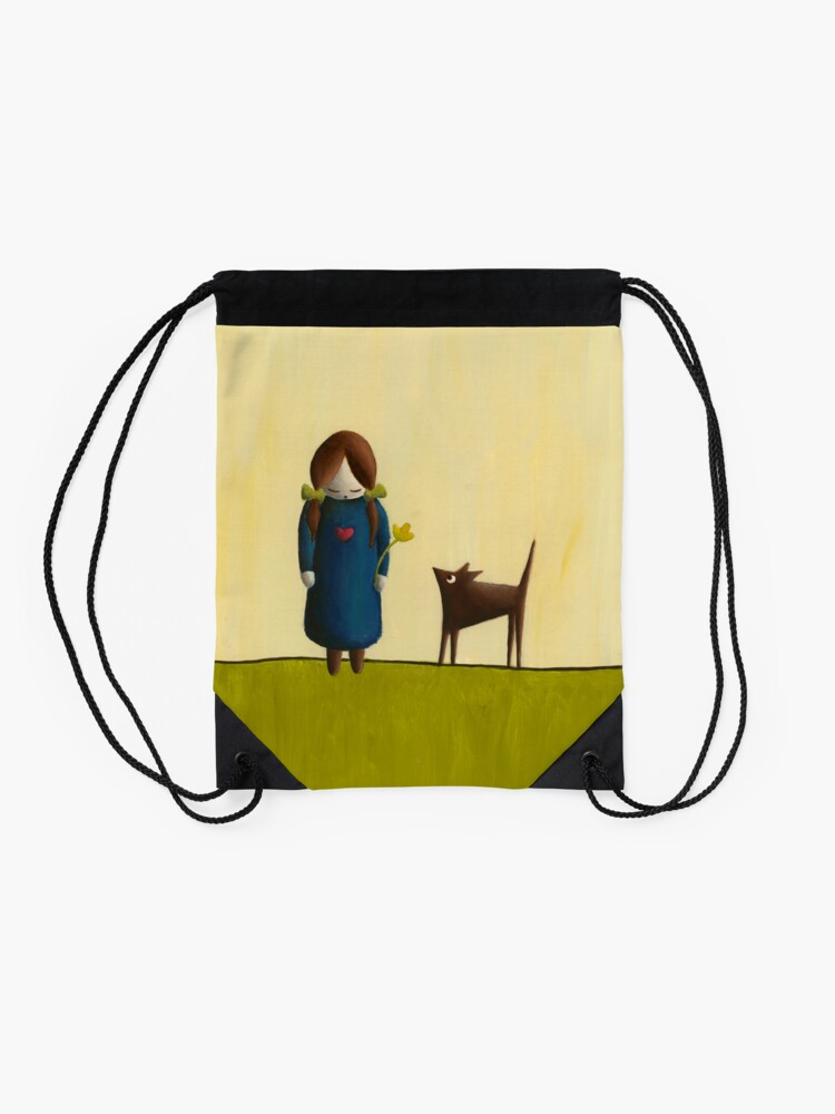Alternate view of Between the Line – Girl with Dog Friend Drawstring Bag