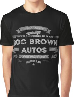 Doc Brown Autos Hill Valley BTTF Vintage Look Tee Graphic T-Shirt