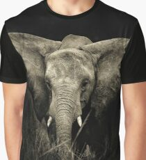 Baby Elephant Black and White Graphic T-Shirt