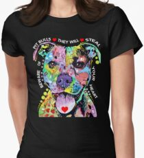 I Love My Pitbull - Colorful Pitbull T-shirts Womens Fitted T-Shirt