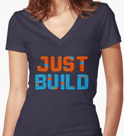 Just Build Women's Fitted V-Neck T-Shirt
