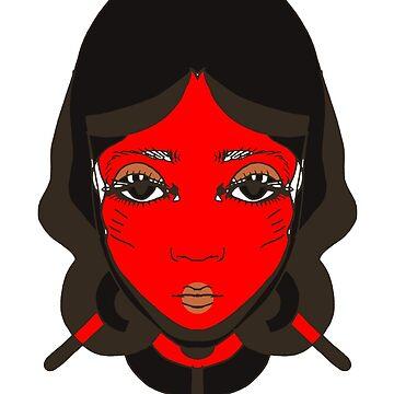 India Hindi Hindu Woman Red Men Women Kids Art by CleverTshirtCo
