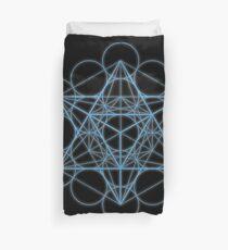 Blue Metatron Cube Duvet Cover
