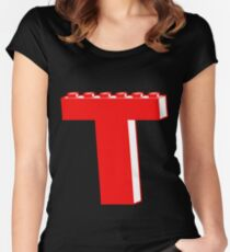 THE LETTER T by Customize My Minifig Women's Fitted Scoop T-Shirt