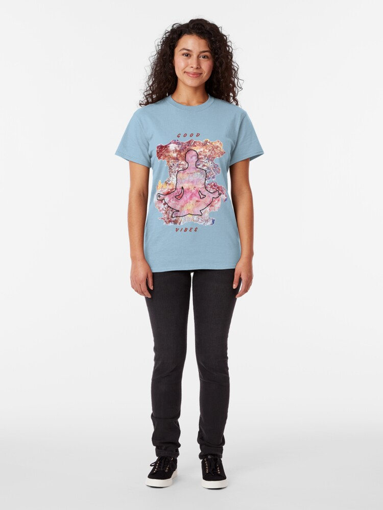 Alternate view of MEDITATION GOOD VIBES LOTUS POSITION Classic T-Shirt