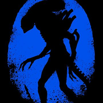 Aliens Egg Silhouette Blue by leea1968