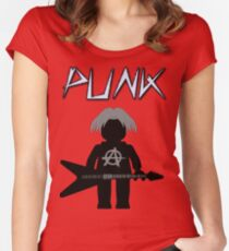 Punk Guitarist Minifig by Customize My Minifig Women's Fitted Scoop T-Shirt