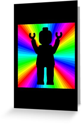 Black Minifig in front of Rainbow by Customize My Minifig