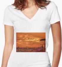Shipboard Sunset Women's Fitted V-Neck T-Shirt