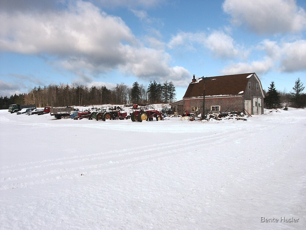 snowy farm by Bente Hasler