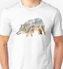 Gray Wolf with Mountains Overlay Unisex T-Shirt