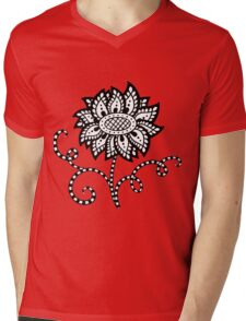Abstract graphic flower in black and white Mens V-Neck T-Shirt